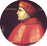 """""""Cardinal Woolsey"""" (an archaic spelling[1]) by an unknown artist c.1520. Detail from an oil on panel in the National Portrait Gallery, London"""