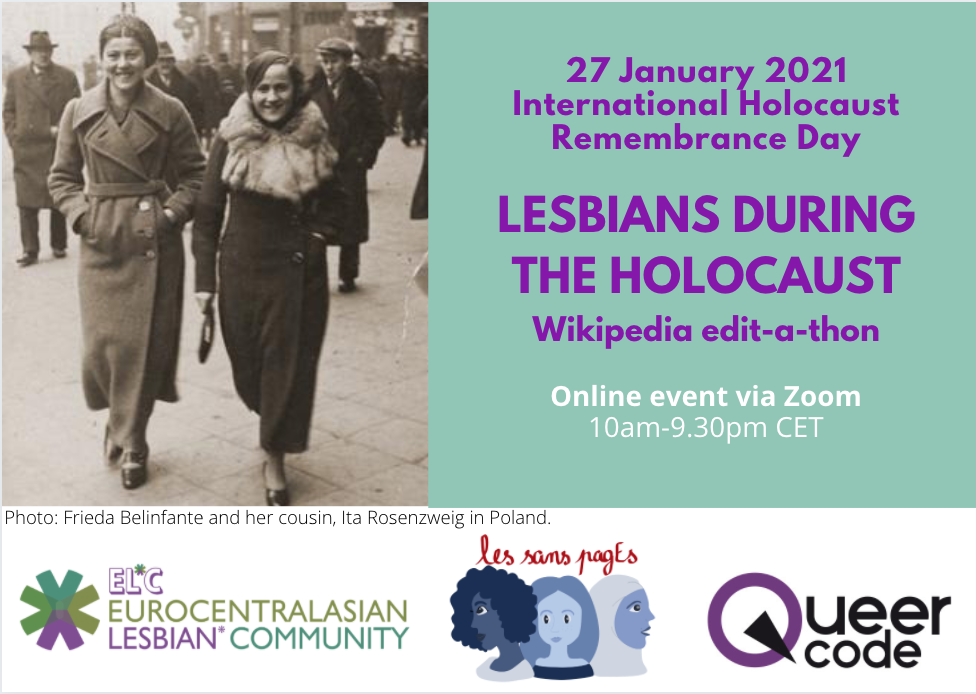 flyer for 'Lesbians during the Holocaust' edit-a-thon 27 January 2021