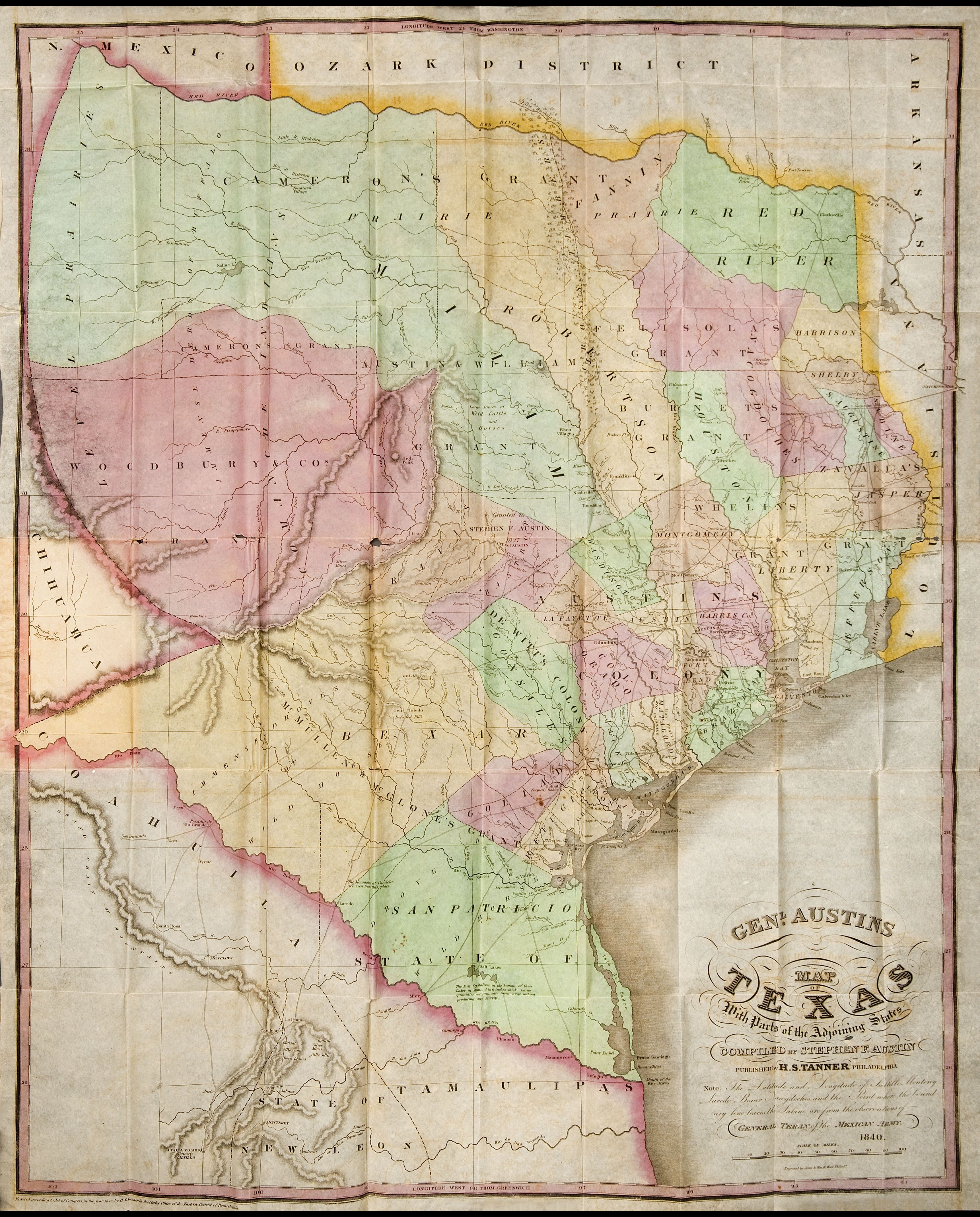 Map Of Texas 1840.File 1840 Genl Austin S Map Of Texas Jpg Wikimedia Commons