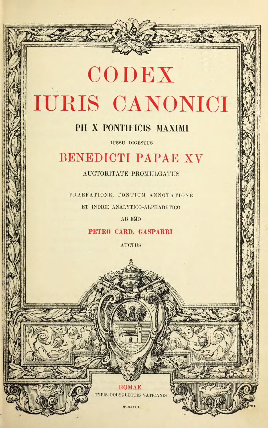Ornately decorated page from 1917 Codex Iuris Canonici (1918 ed.)