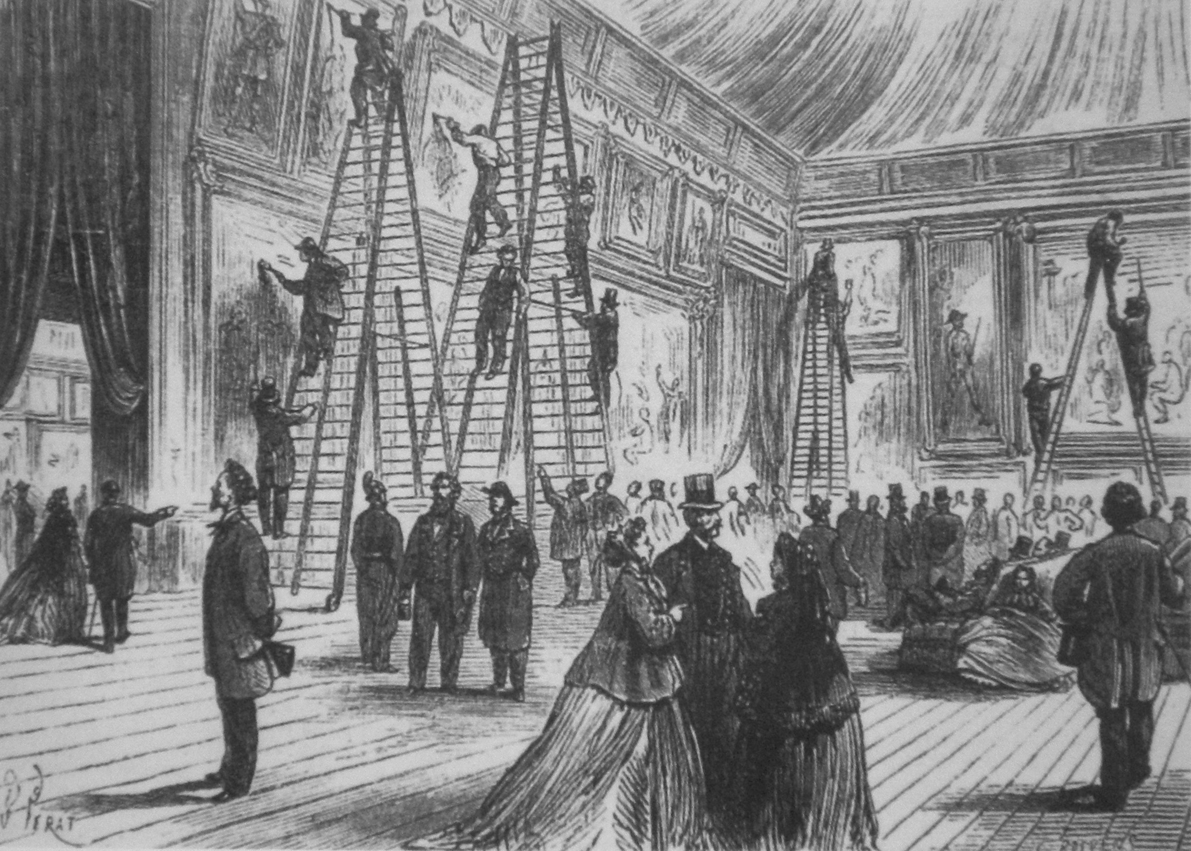 File:B. Perat, Vernissage au salon, Paris 1866.jpg
