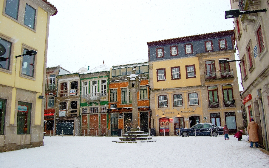 Chaves historical centre in the snow