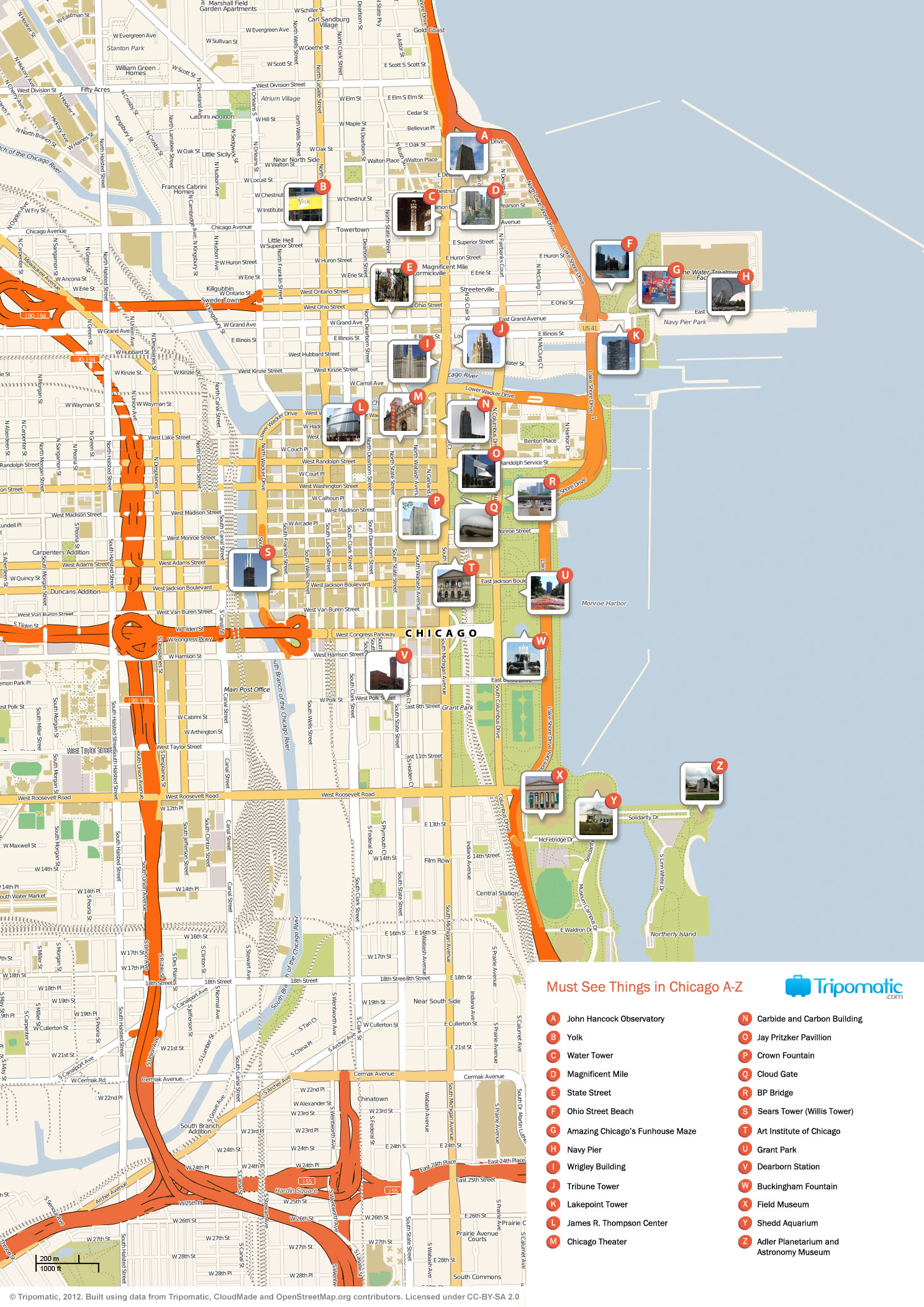 filechicago printable tourist attractions map  wikimedia commons - filechicago printable tourist attractions map
