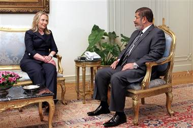 Mohamed Morsi meets with U.S. Secretary of State Hillary Clinton in Cairo, Egypt, July 2012 Clinton-morsi.jpg