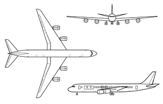 The DC-8 is a low-wing jetliner with a swept wing and four engines