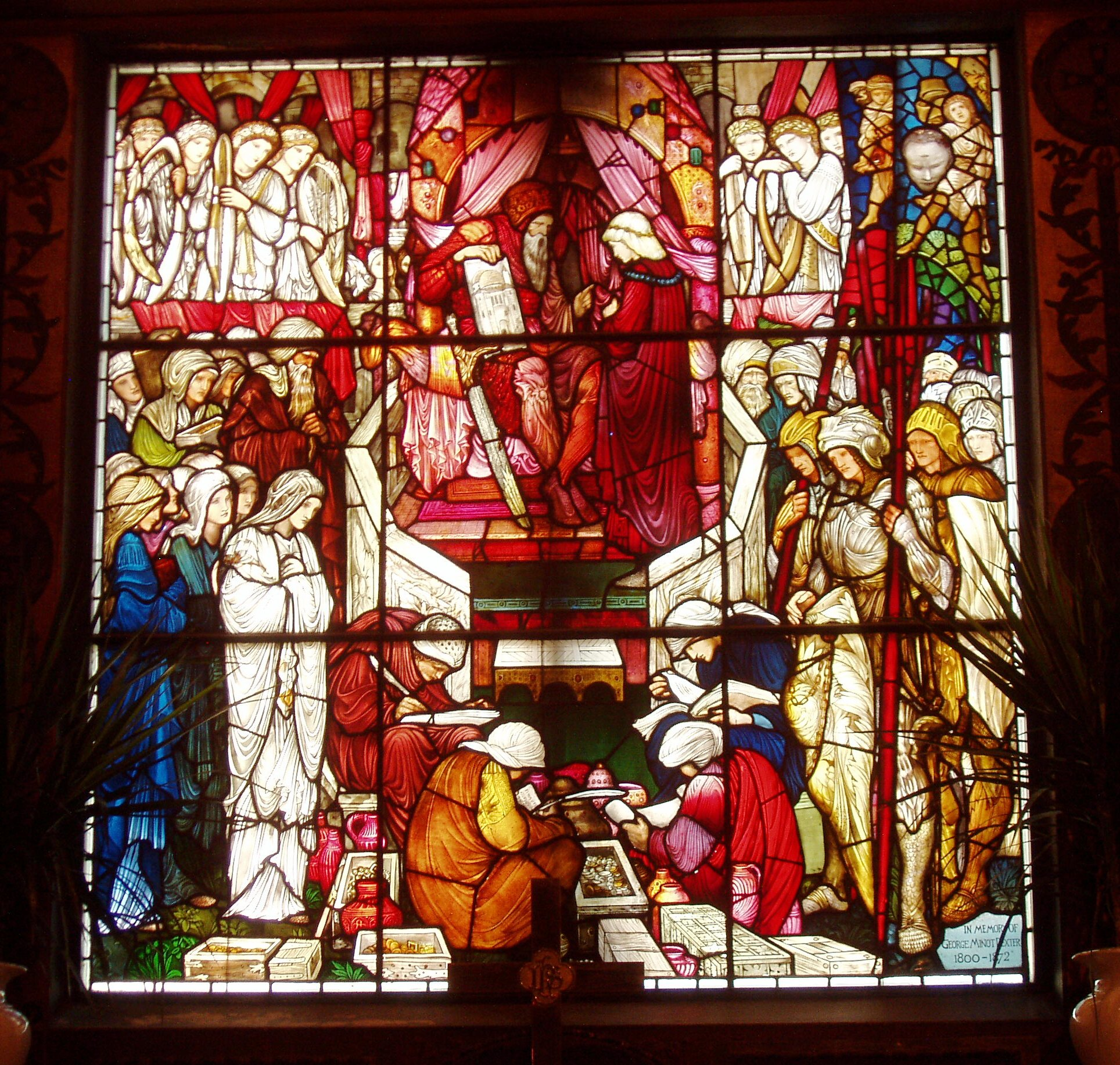 File david 39 s charge to solomon by burne jones and morris for Window design art