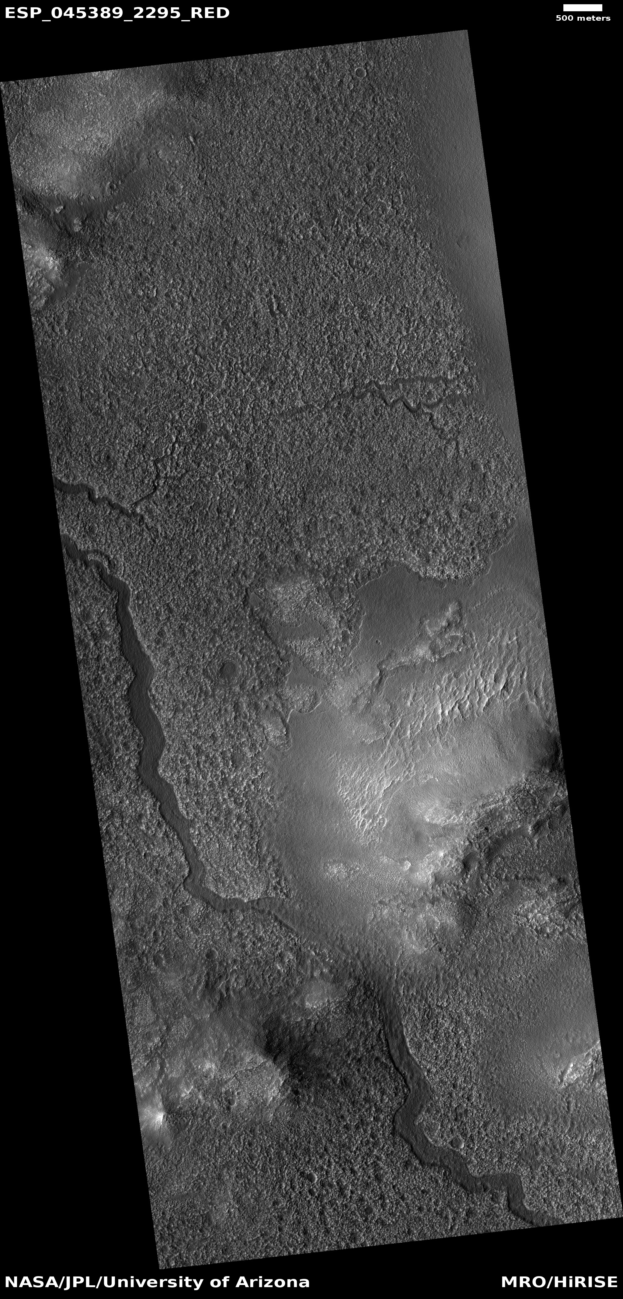 Wide view of channels in Lyot Crater, as seen by HiRISE under HiWish program