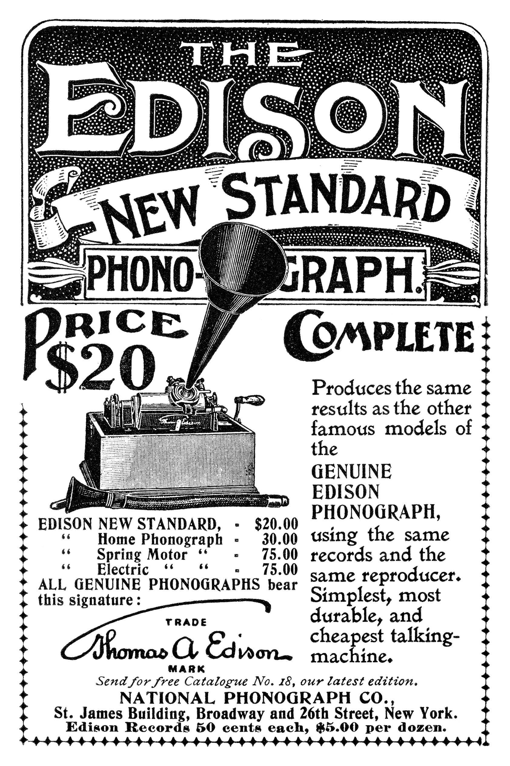1898 ad for the New Standard Phonograph