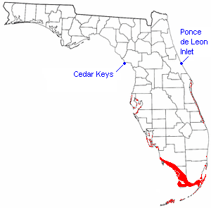 The distribution of the mangrove community in Florida is shown in red. Cedar Keys and Ponce de Leon Inlet are the northern limits of the mangrove community.