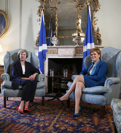 May's first visit since becoming Prime Minister with First Minister of Scotland, Nicola Sturgeon, at Bute House, Edinburgh First Minister meets the Prime Minister at Bute House (cropped).jpg