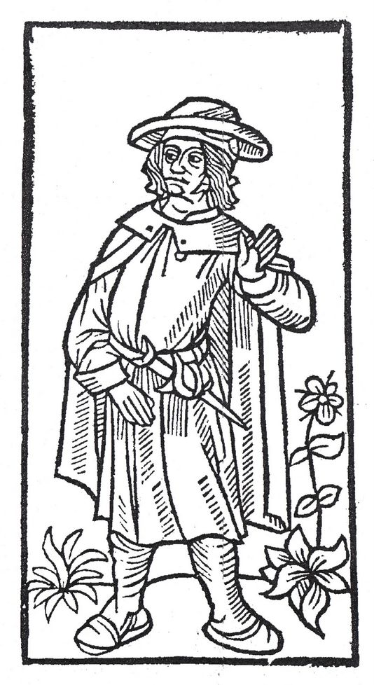 Stock [[woodcut]] image, used to represent François Villon in the 1489 printing of the ''Grand Testament de Maistre François Villon''