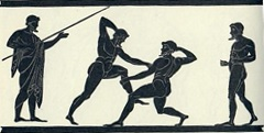 A scene of Ancient Greek pankratiasts fighting. Originally found on a Panathenaic amphora, Lamberg Collection.
