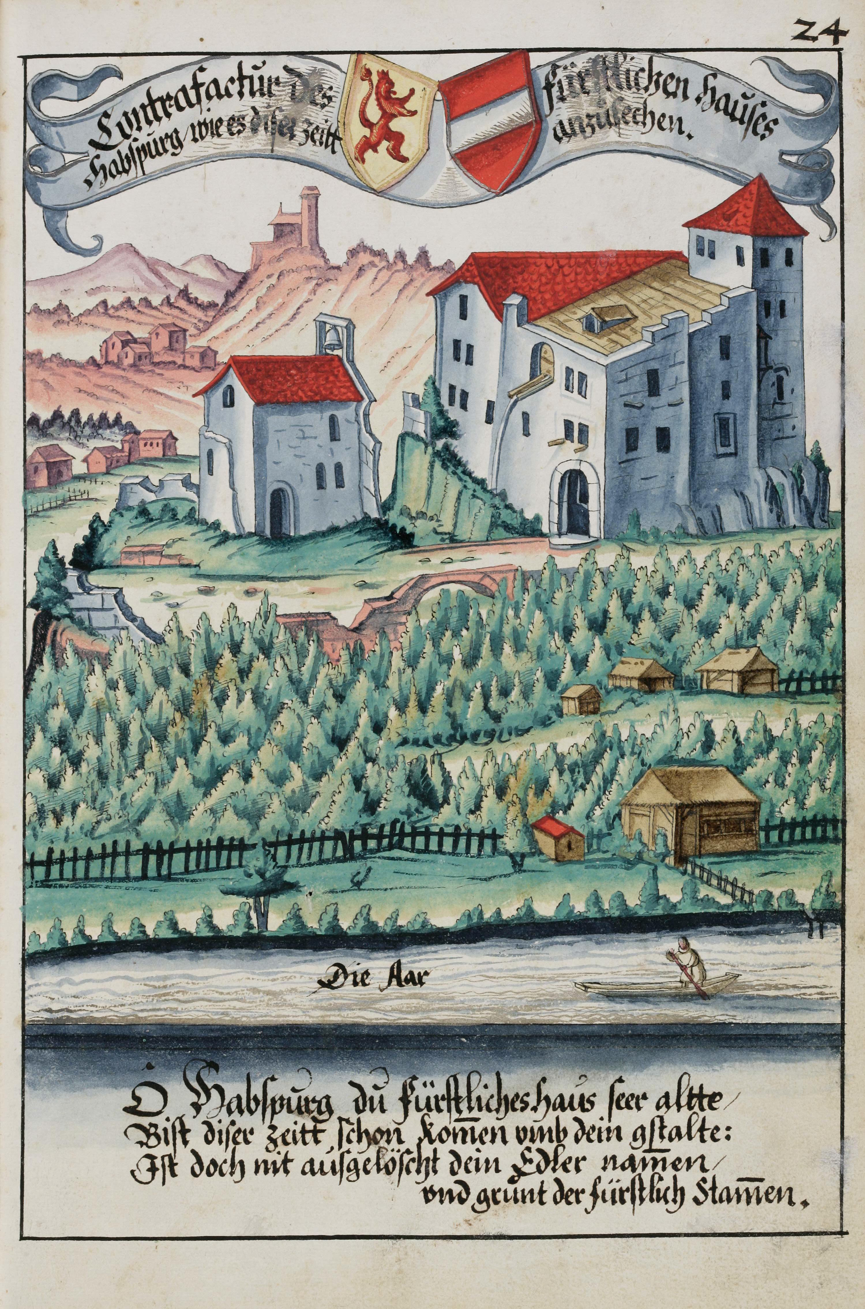Älteste bekannte realitätsnahe Darstellung der Habsburg (Hintere Burg und Burgkapelle), von Hans Ulrich Fisch 1634.
