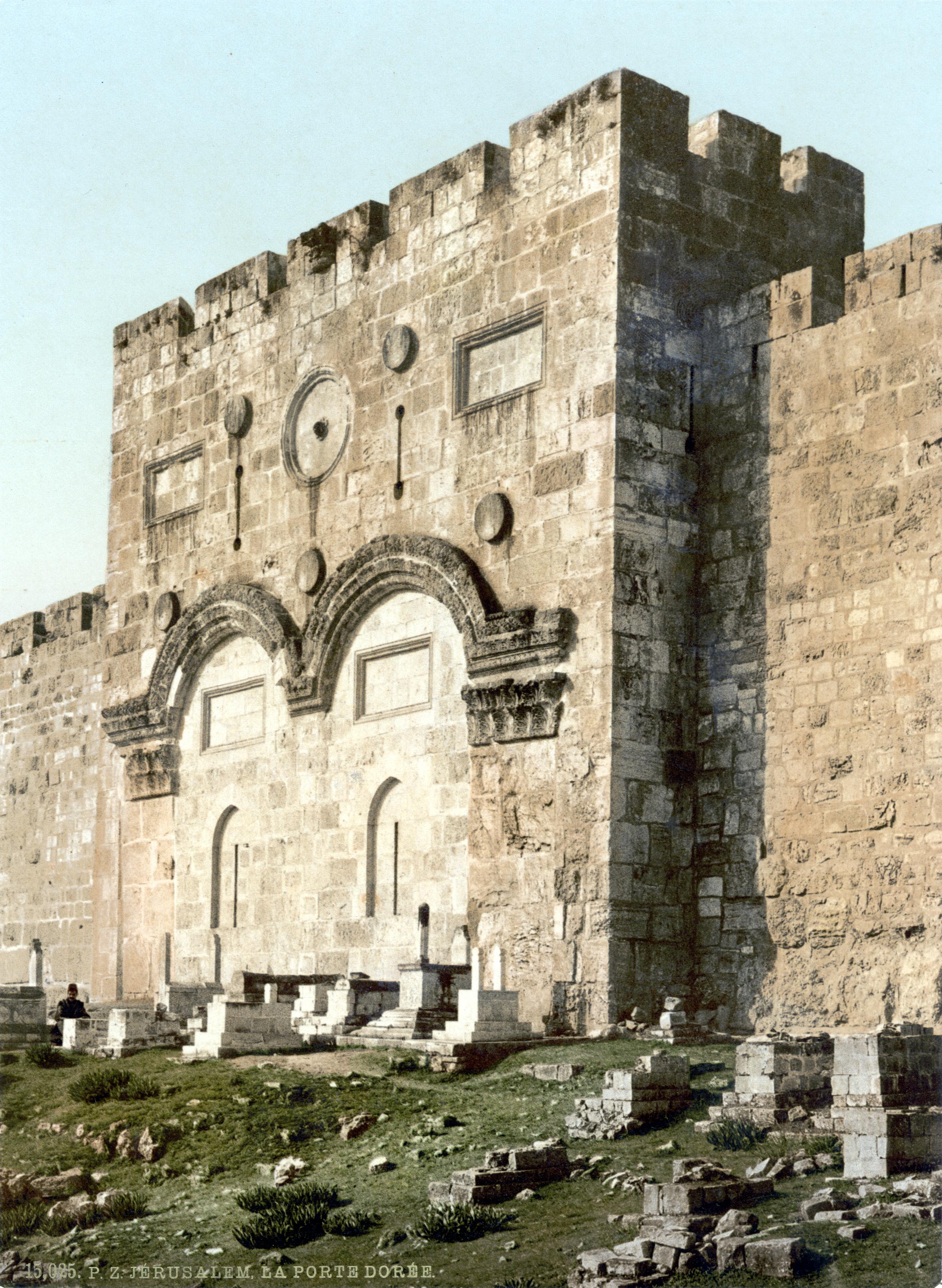 Description Jerusalem Goldenes Tor um 1900.jpg