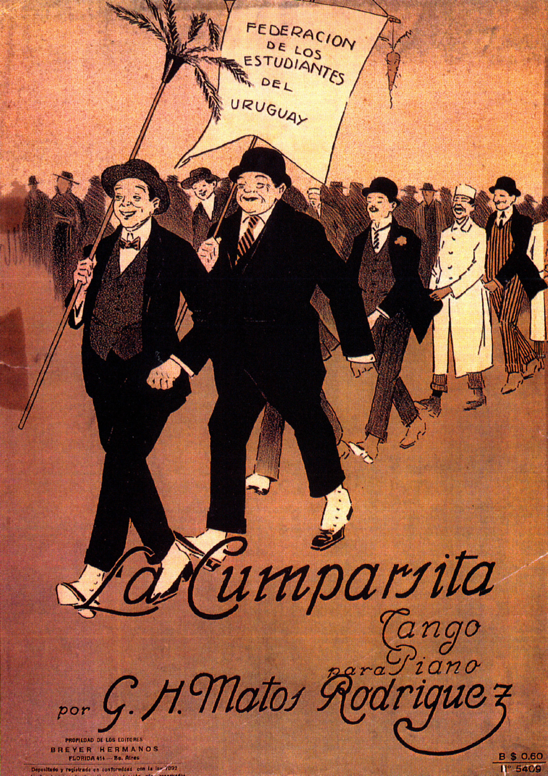 Partitura de La Cumparsita, 1917. Casa Breyer Hermanos