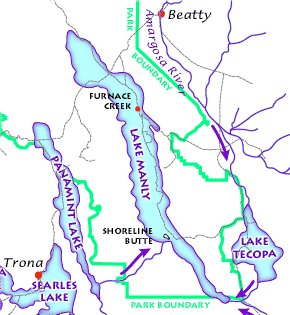 The Lake Manly lake system as it might have looked during its last maximum extent 22,000 years ago. (USGS image)