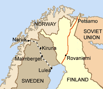 Iron ore is extracted in Kiruna and Malmberget and brought by rail to the harbours of Lulea and Narvik. (Borders 1920-1940) Lapland1940.png