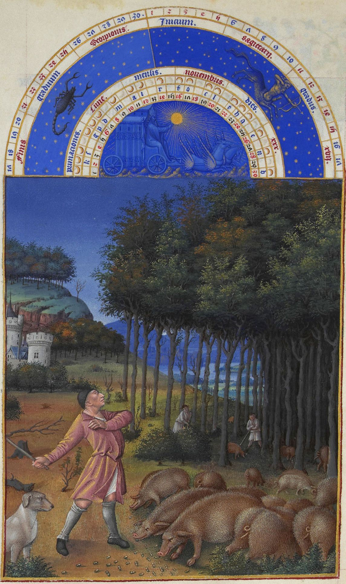 """Limbourg Brothers, """"The Book of Hours."""" Pigs grazing in the forest."""