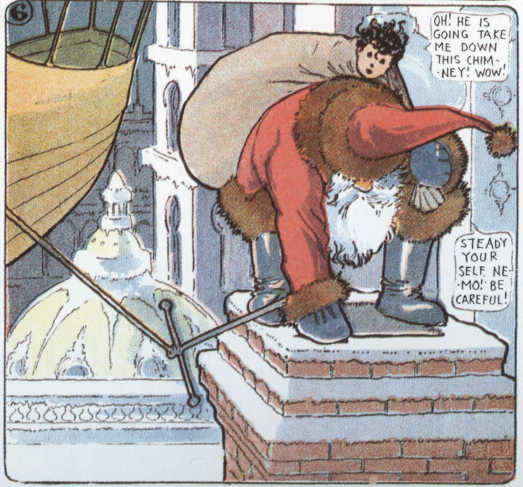 Little Nemo and Santa entering chimney