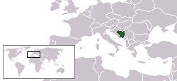 Location of Bosnia and Herzegovina