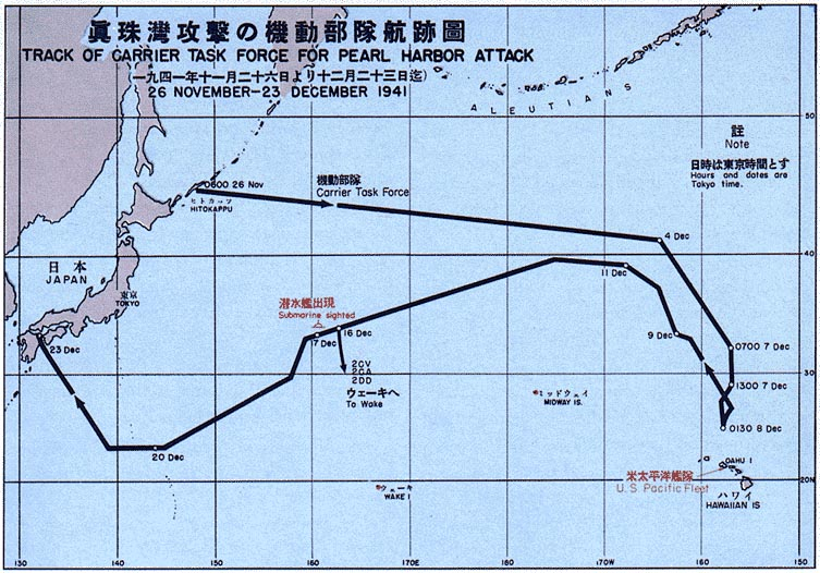 Map of Pearl Harbor attack force