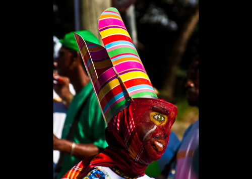 Masked dancers performing on St Patrick's Day, Montserrat, 2011. Credit: Tony Bates, Wikimedia Commons