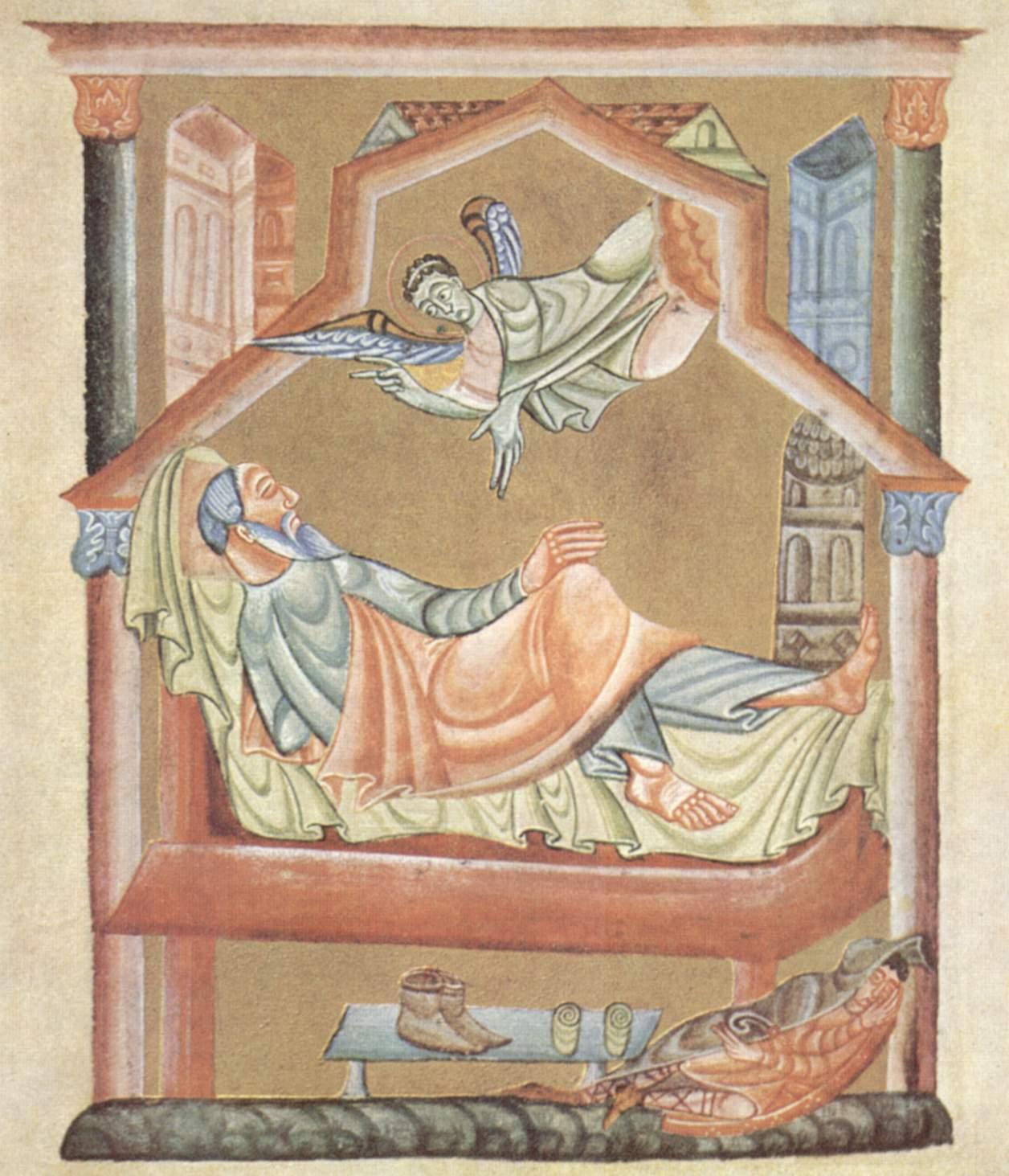 MEISTER des Perikopenbuches Heinrichs II Perikopenbuch Heinrichs II, Der Traum Josefs, vor 1014