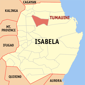 Map of Isabela showing the location of Tumauini