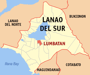 Map of Lanao del Sur showing the location of Lumbatan