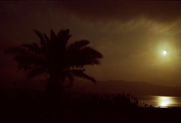 ים המלח והרי מואב לאור הירח