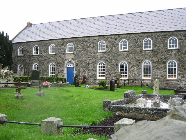 Rademon (First Kilmore) Non-subscribing Presbyterian Church. The Congregation was founded in 1713. This building dates from 1787: it has recently undergone complete refurbishment with aid from the Lottery Fund.