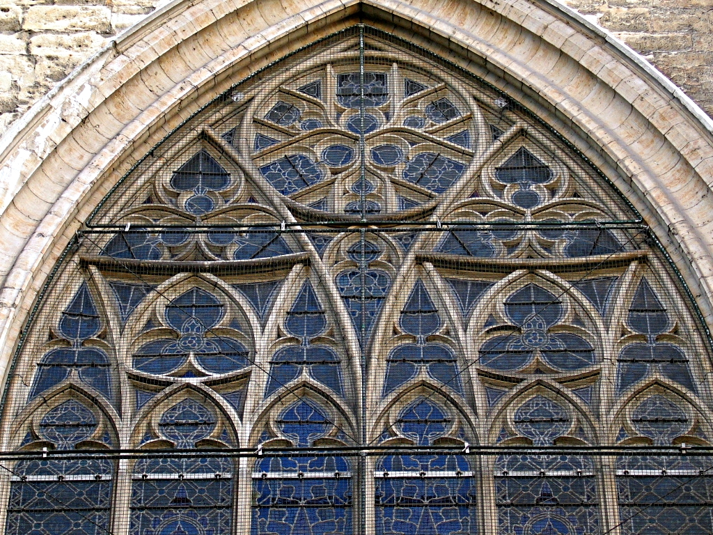 Reuleaux triangles on a window of St. Michael and St. Gudula Cathedral, Brussels.jpg