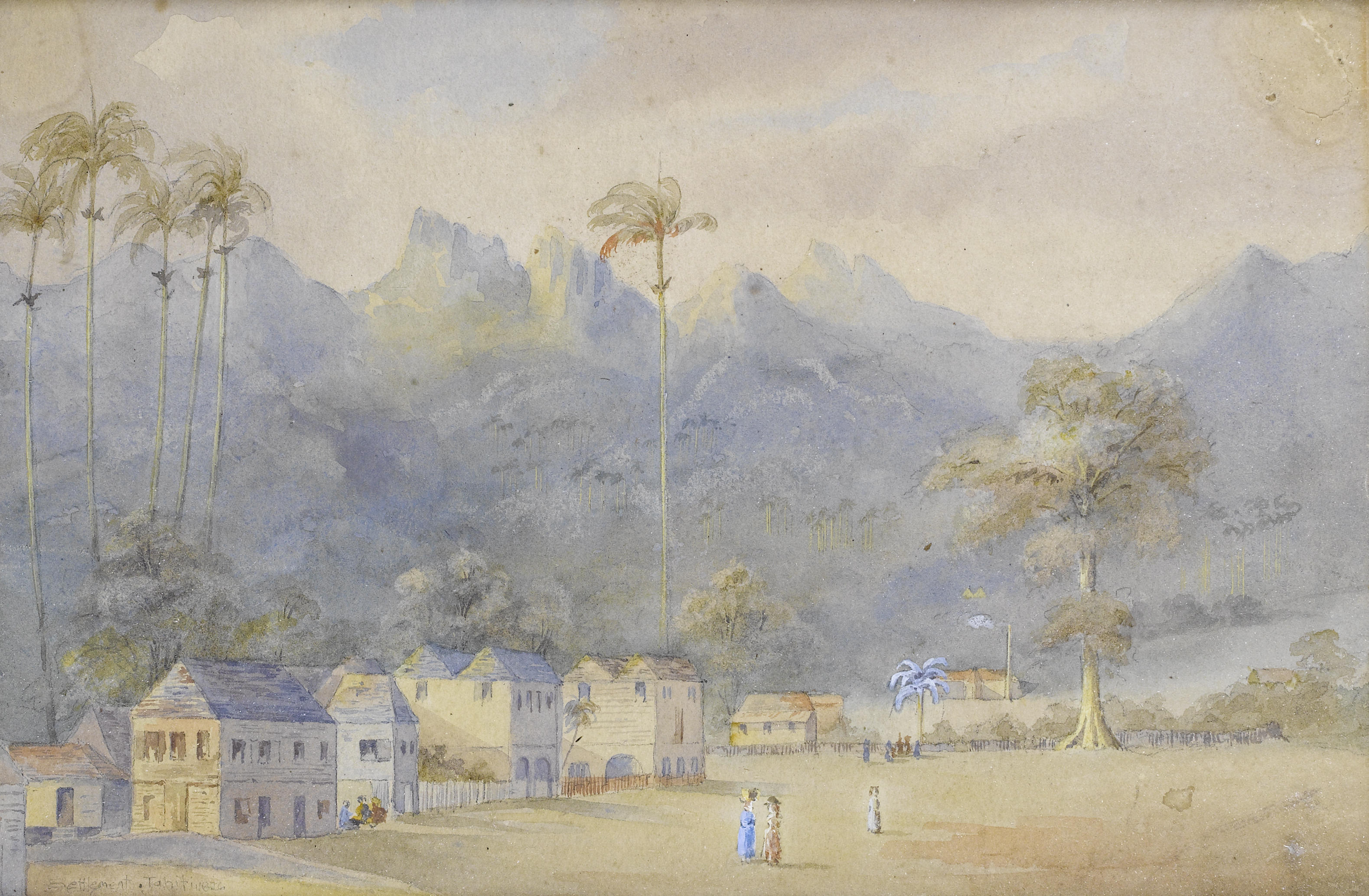 History of watercolor art - File Richard Heys Settlement Tahiti 1826 Watercolor And Bodycolor Jpg