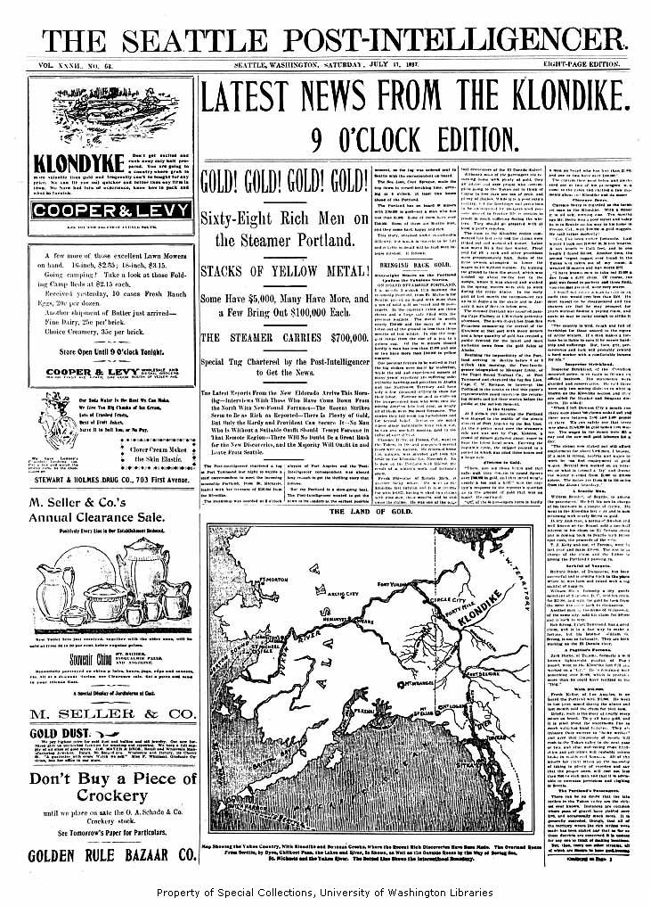 Seattle Post Intelligencer newspaper front page for July 17 1897 announcing the arrival of the steamer PORTLAND in Seattle from the Klondike gold fields.png