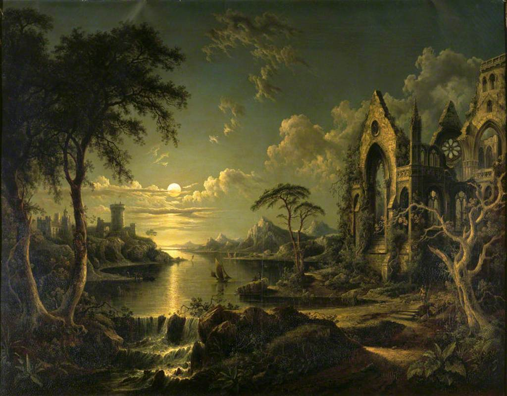 Ruins in art: Sebastian Pether, A Ruined Gothic Ruins in art: Church beside a River by Moonlight