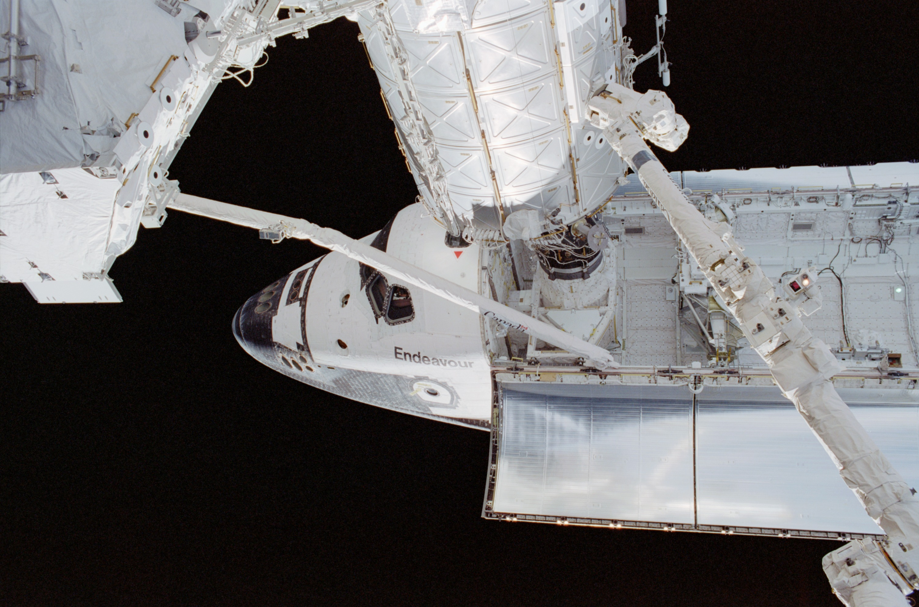 Endeavour docked to the ISS