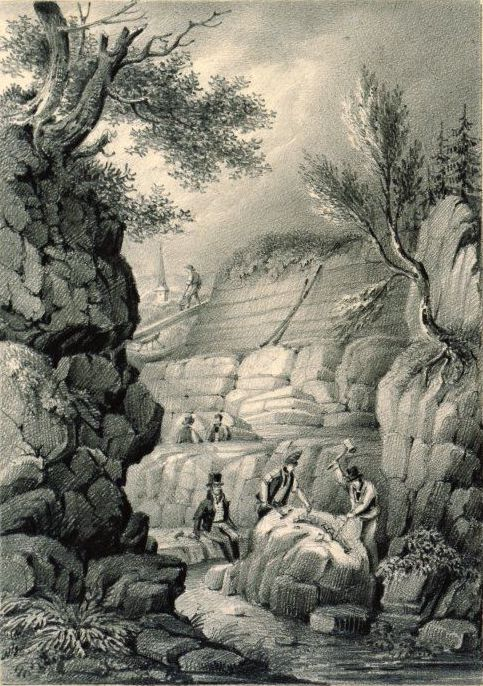 Sketch of Tilgate Quarry with Gideon Mantell Overseeing the Uncovering of Fossils.jpeg
