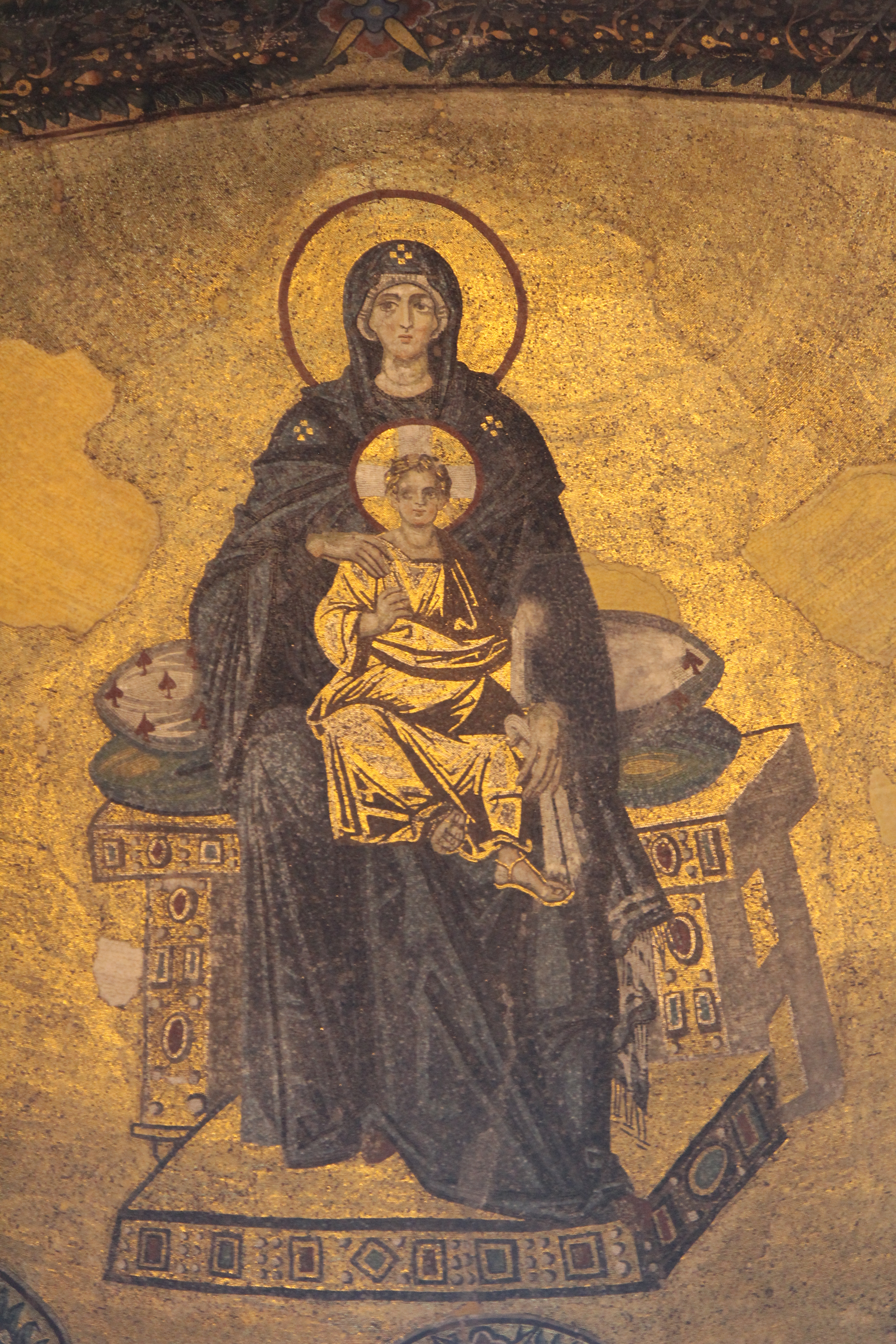 Madonna with Christ, mosaic, Hagia Sophia, Constantinople, 9th century