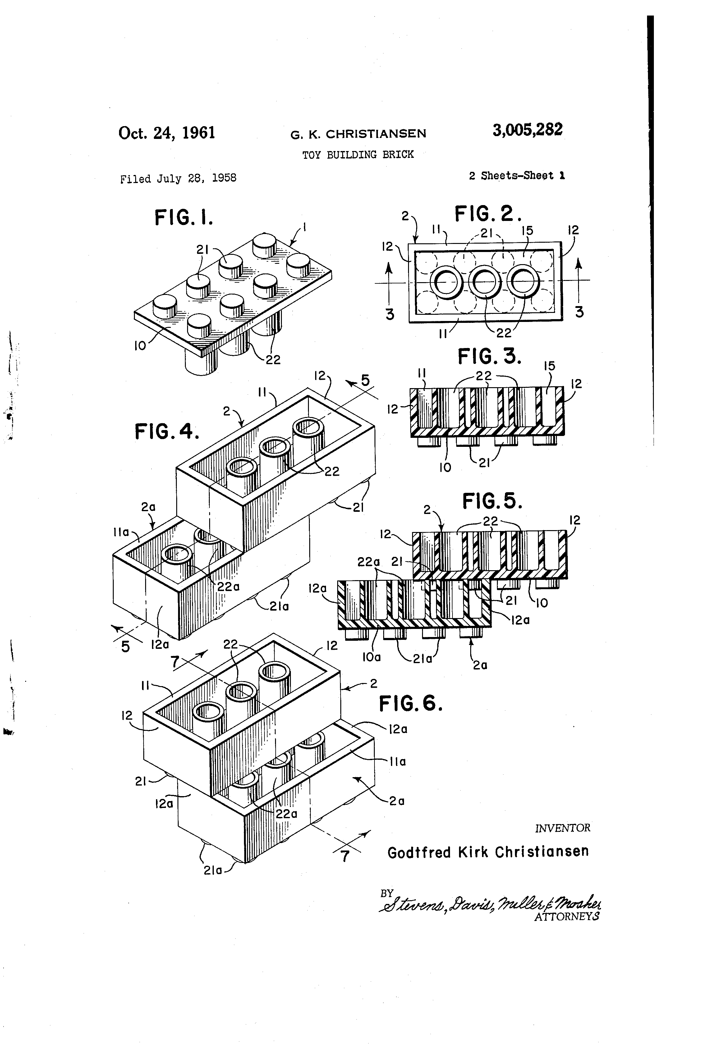 File Us3005282a Toy Building Brick 1958 Filed 1961 Published By Christiansen Godtfred Kirk Lego Brick P 1 Fig 1 6 Png Wikimedia Commons
