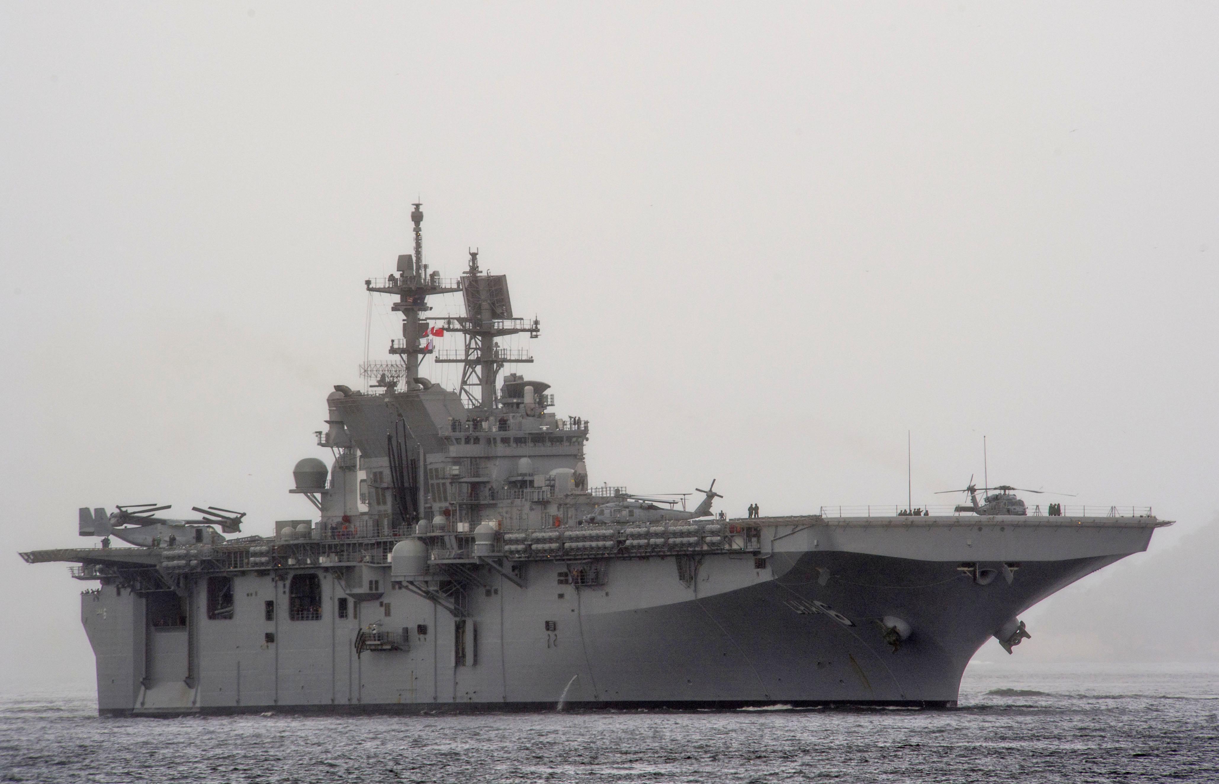 USS America (LHA-6) off Rio de Janeiro in August 2014.JPG