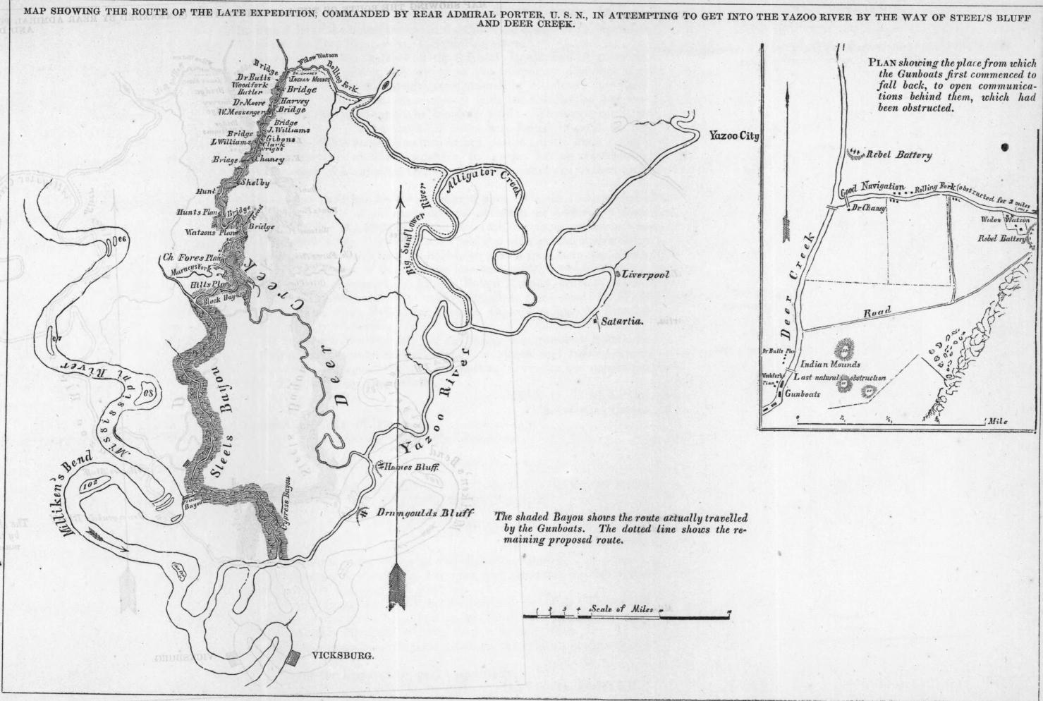 Porter's Yazoo River expedition against the last Confederate Naval base in western waters at Yazoo City. This image is from the Library of Congress.