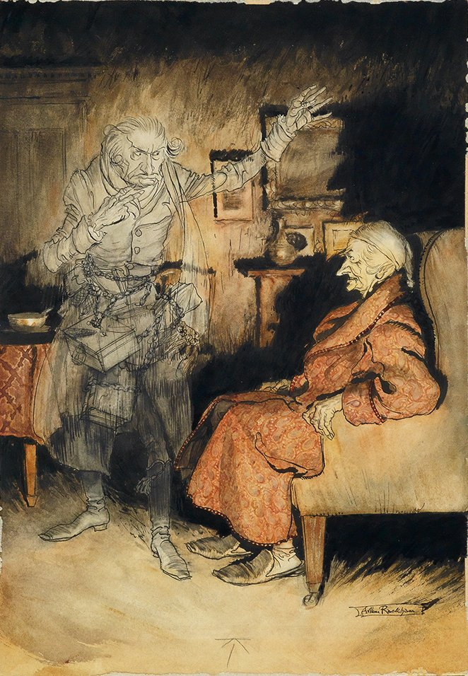 'Scrooge and the Ghost of Marley' by Arthur Rackham.jpg