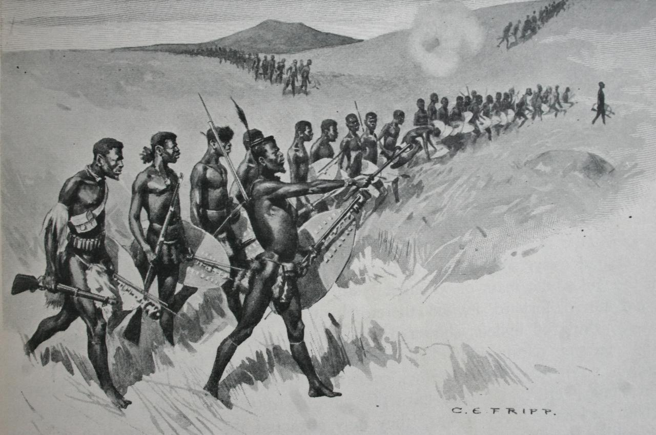 https://upload.wikimedia.org/wikipedia/commons/a/a6/A-Zulu-regiment-attacking-at-iSandlwana.jpg