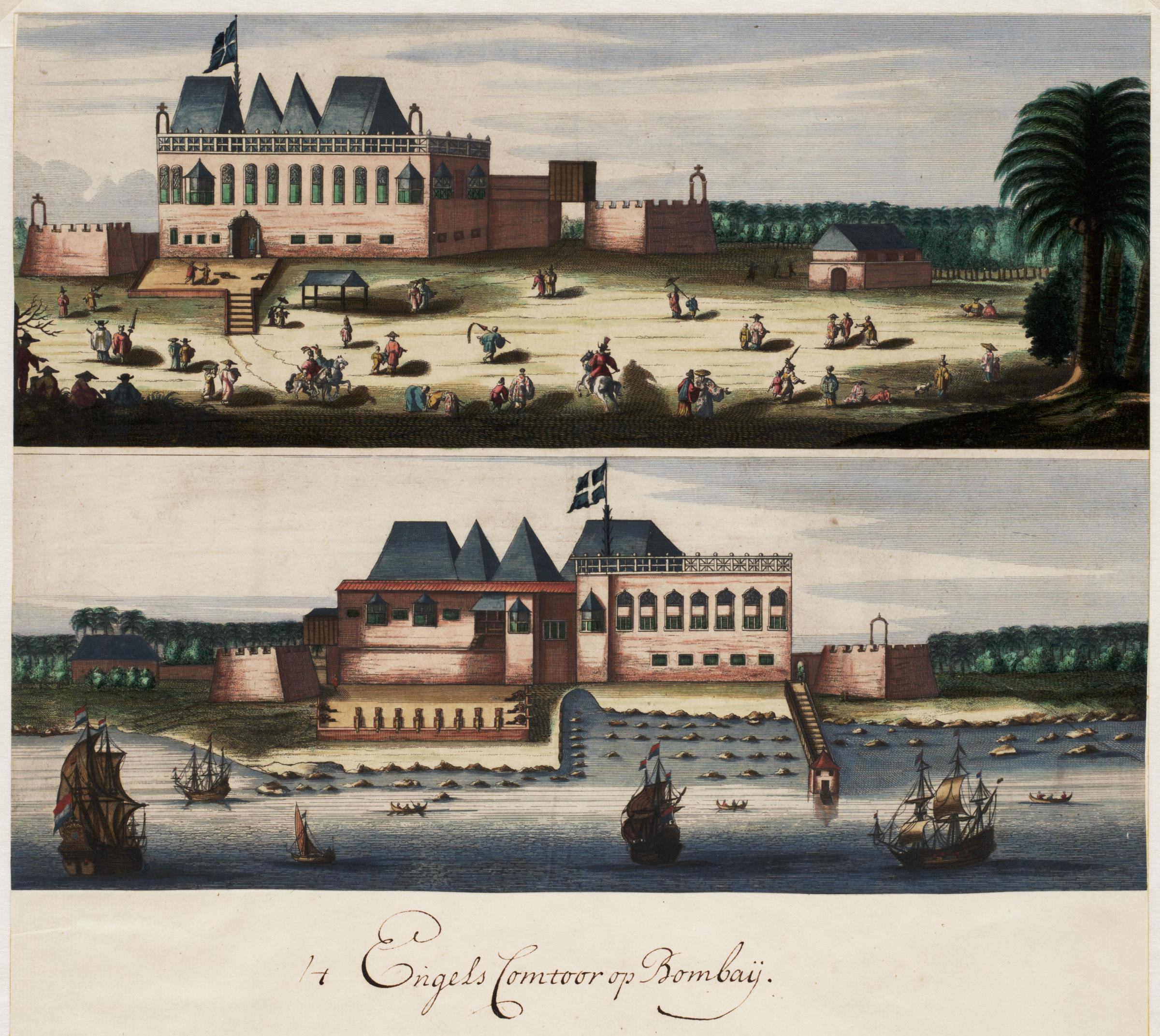 https://upload.wikimedia.org/wikipedia/commons/a/a6/AMH-6748-NA_Two_views_of_the_English_fort_in_Bombay.jpg