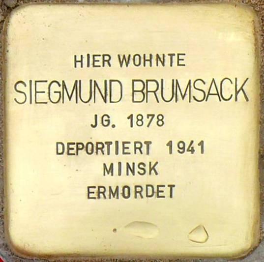 Stolperstein Poststraße 16 Brumsack Siegmund