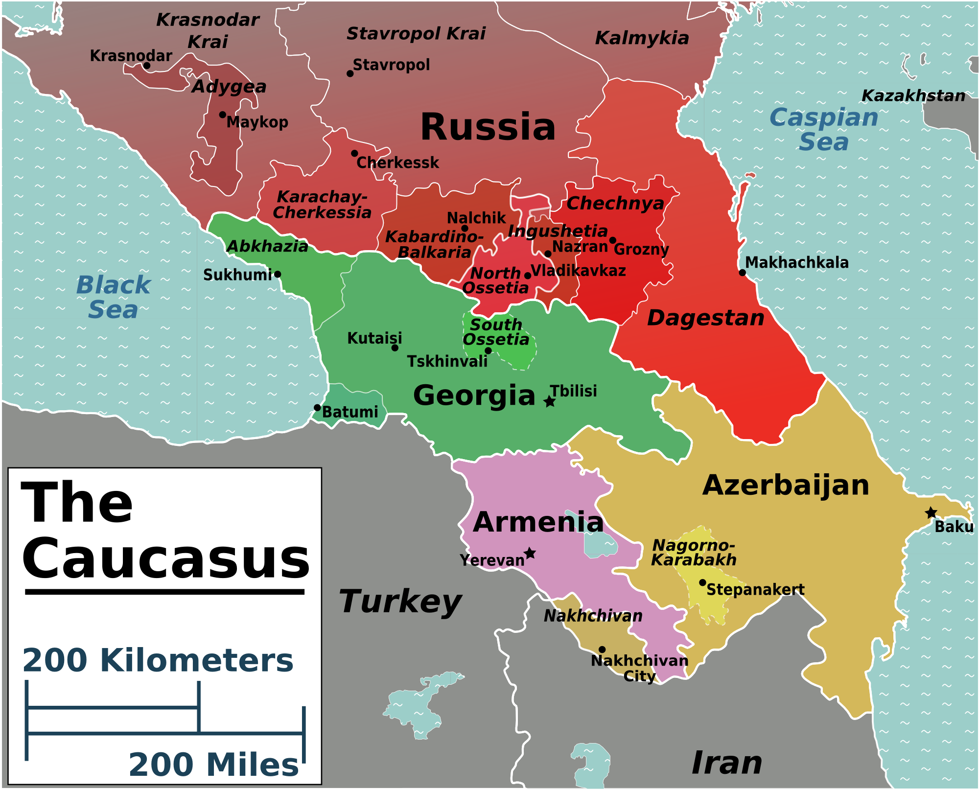 Description Caucasus regions map png