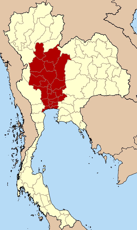 Central Thailand Wikipedia - Thailand regions map