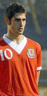Ched Evans in his Wales football kit