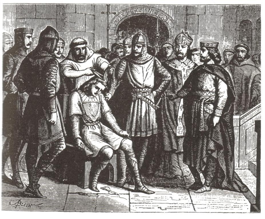 Sesazení Childericha III. a odstřihnutí jeho dlouhých vlasů.