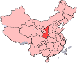 Shaanxi is highlighted on this map